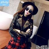 【V9539】shiny藍格子-帥氣實搭.修身顯瘦短款個性皮衣夾克外套