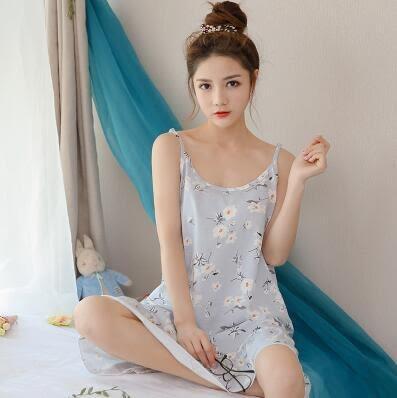 吊帶睡裙女夏季性感棉質睡衣女夏天無袖加大呎碼寬鬆冰絲正韓家居服 百貨週年慶