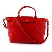 【LONGCHAMP】M號小羊皮二用折疊包(紅色)1515737045