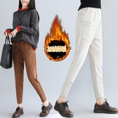 冬季大尺碼女裝胖mm韓版寬鬆百搭鬆緊腰加絨蘿卜褲高腰顯瘦小腳褲子 週年慶降價