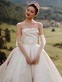 新娘手套 婚紗新娘手套素紗防曬超薄戶外旅拍長款白香檳lolita夏季 莎拉嘿呦