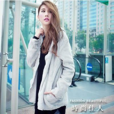 現貨黑色秋冬個性斗蓬式毛絨絨中長款外套上衣正韓學院風氣質時尚外套 大衣 依品國際