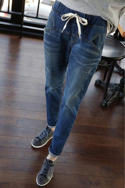 直筒牛仔長褲 自信迷人腰部鬆緊牛仔小腳褲 艾爾莎【TAW2036】
