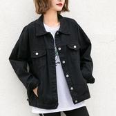 孜索2019春季新款黑色的牛仔外套女寬鬆韓版bf休閒牛仔衣春秋夾克  潮流衣館