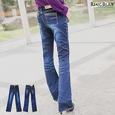 喇叭褲--獨特魅力褲頭豹紋刷白壓皺褶喇叭牛仔長褲(XL-7L)-N99眼圈熊中大尺碼