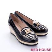RED HOUSE-蕾赫斯-金屬豹頭動物紋楔型鞋(共3色)