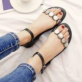 【35-44全尺碼】涼鞋.韓版金屬圓片造型扣環平底涼鞋.白鳥麗子