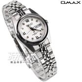 OMAX 時尚城市數字小圓錶 不銹鋼錶帶 藍寶石水晶鏡面 鑽錶 女錶 羅馬數字時刻 OMAX4004L白D