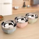 304不銹鋼碗雙層隔熱碗寶寶防摔碗彩色兒童家用飯碗沙拉碗米飯碗
