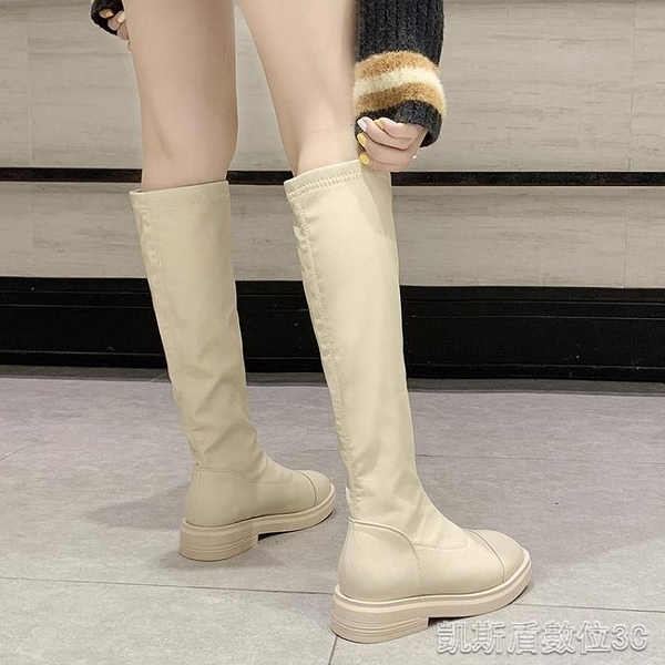 長靴秋季新款網紅中跟長筒靴女瘦腿百搭不過膝高筒女靴粗跟騎士靴 凱斯盾