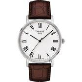 TISSOT 天梭 Everytime 羅馬經典手錶-銀x咖啡/38mm T1094101603300