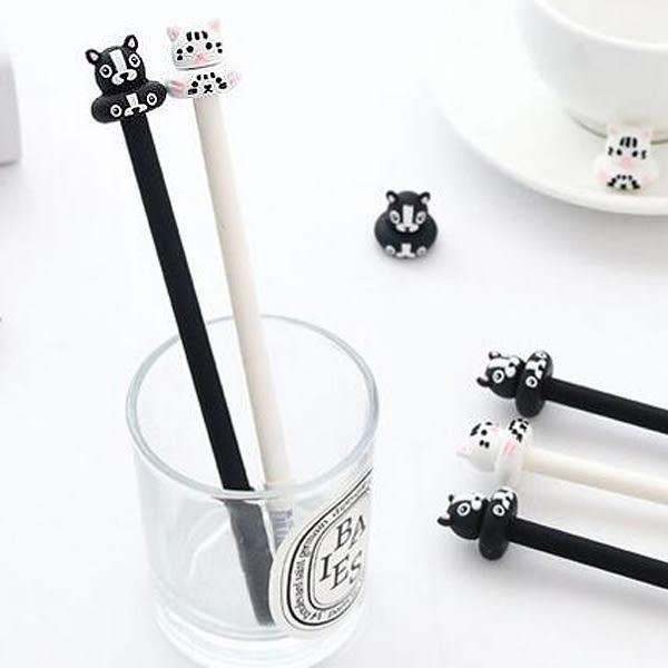 【BlueCat】日式年糕黑白貓咪小狗中性筆 水性筆