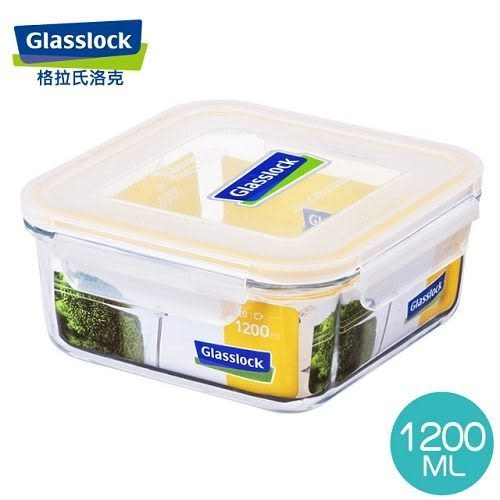 【Glasslock】強化玻璃微波保鮮盒 - 方形1200ml  RP534