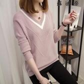 針織衫 針織上衣 套頭短款長袖女士V領毛衣女