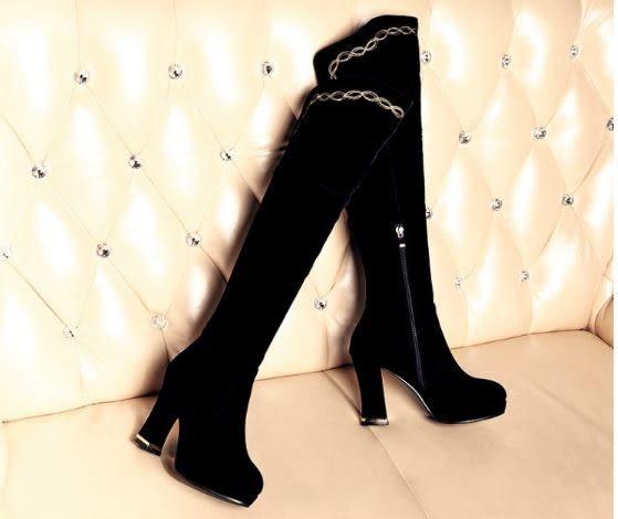 ✿ 3C膜露露 ✿ 新款冬季過膝長靴  高跟粗跟女靴韓版磨砂騎士靴