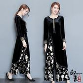 漢服古裝連身裙套女時尚復古印花氣質絲絨闊腿褲兩件套【萬聖節推薦】