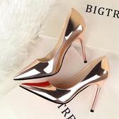 高跟鞋 韓版春秋季新款時尚尖頭銀色漆皮細跟高跟鞋百搭氣質OL單鞋潮  萌萌小寵