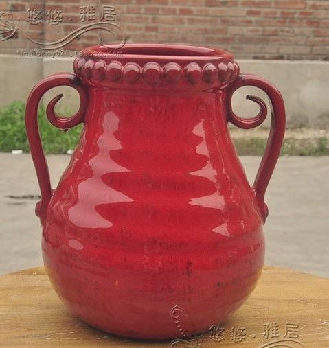【協貿國際】地中海紅色陶瓷雙耳桌面花瓶(大)