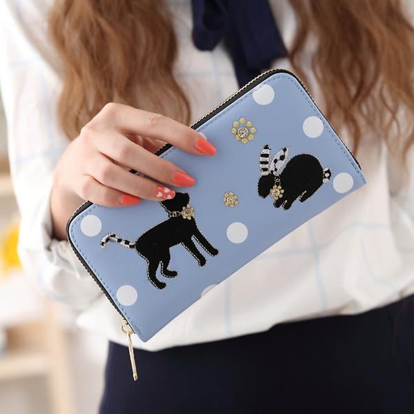 長夾 優雅立體兔子貓咪刺繡長皮夾 手機錢包 5色 923# 女包包