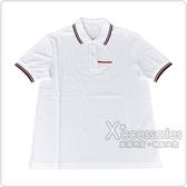 PRADA經典橡膠LOGO紅白設計純棉短袖POLO衫(白)