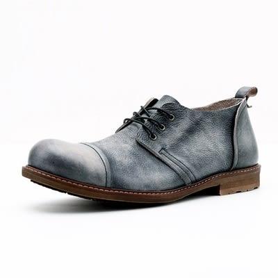 真皮短靴-繫帶輕復古休閒時尚做舊男靴子2色73kk39[巴黎精品]