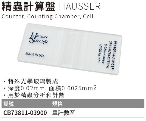 《HAUSSER》精蟲計算盤 Counter, Counting Chamber, Cell