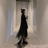 兩件套洋裝 秋冬新款赫本風網紗連身裙針織毛衣氣質小黑裙兩件套裝裙子女 suger 新品