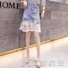 牛仔裙 9806#2021大碼女裝夏季新款韓版時尚拼接蕾絲牛仔裙A字裙 17【618特惠】