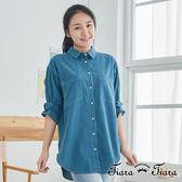 【Tiara Tiara】百貨同步 雙口袋束袖造型襯衫(藍/卡其)