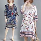 長裙 洋裝 媽媽夏裝新款民族風中大尺碼 女裝mm中老年短袖中長款棉麻連衣裙