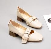 單鞋女百搭秋季韓版中跟方頭瑪麗珍粗跟奶奶鞋2色