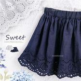 新色藍~白色布蕾緹花短裙(內有安全褲)(270427)★水娃娃時尚童裝★