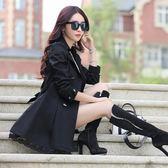 風衣外套風衣女韓版顯瘦大碼女裝中長款修身雙排扣外套潮 愛麗絲精品