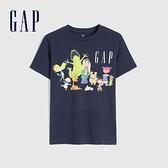 Gap男童 Logo卡通印花短袖T恤 886969-海軍藍