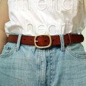 休閒百搭黃銅扣棕色黑色頭層純牛皮真皮褲帶牛仔褲腰帶女士寬皮帶