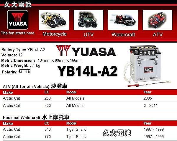 ✚久大電池❚YUASA 湯淺機車電瓶 YB14L-A2 12N14-3A HONDA CB750【Shopping Town】