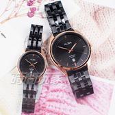 ALBA雅柏錶 都會城市風格 日期顯示窗 防水 藍寶石水晶玻璃 不銹鋼 IP黑電鍍 對錶 AS9L04X1+AH7V42X1