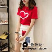 套裝/短袖t恤女字母半身a字裙兩件套「歐洲站」