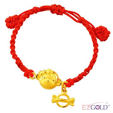 甜蜜約定金飾-滿滿心意金小猴-黃金編織手鍊(兒童配戴)