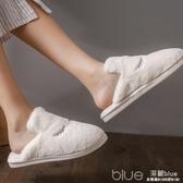 室內棉拖鞋女居家木地板防滑家居保暖軟底兒童毛拖鞋男 深藏blue