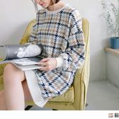 《DA5142》拼色格花紋絨布長版大學T衛衣洋裝 OrangeBear