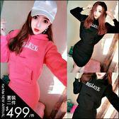 克妹Ke-Mei【ZT49250】BELEVE甜心風字母圖印刷毛連帽T恤+包臀裙套裝洋裝