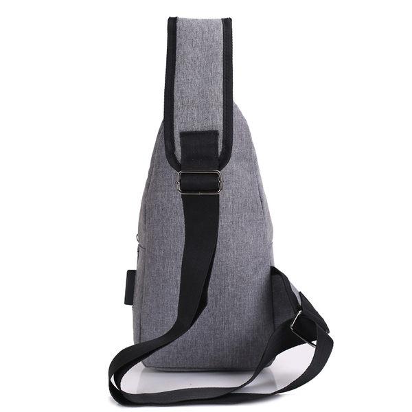 【USB胸包】附USB線 韓系休閒男士側背包 男用斜背包 旅行充電接口單肩包 防潑水胸前包 前胸包