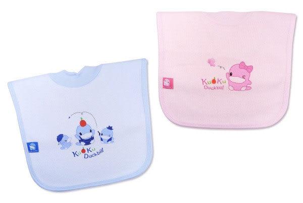 【奇買親子購物網】酷咕鴨KU.KU. 毛巾布透氣套頭圍兜(藍色/粉色)
