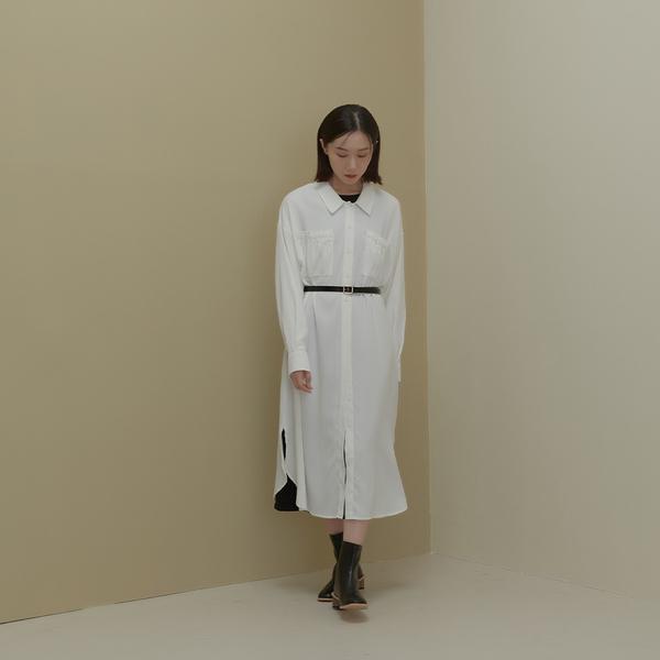 Queen Shop【01085692】口袋抓皺設計雪紡襯衫洋裝 兩色售*現+預*