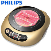 【贈碳鋼不沾燒烤盤】 PHILIPS 飛利浦黑晶爐不挑鍋 HD4990 / HD-4990(香檳金色)