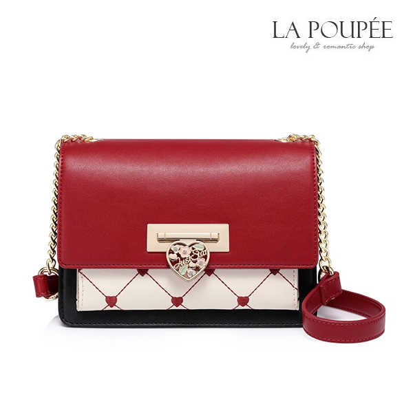 側背包 甜蜜心型菱格紋復古小方包 3色-La Poupee樂芙比質感包飾 (現貨+預購)
