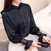 雪紡衫女長袖2018春裝新款韓版蕾絲小衫