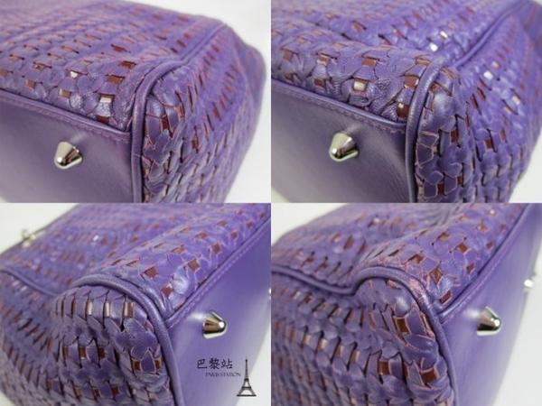 【巴黎站二手名牌專賣店】*現貨*Christian Dior 真品*紫色皮革x漆皮 編織手提包