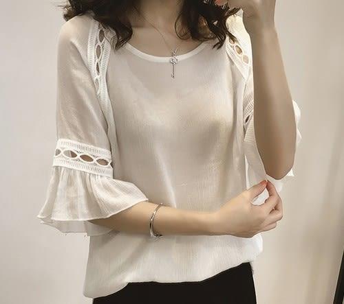 EASON SHOP(GU5924)大碼鏤空荷葉邊甜美上衣七分袖喇叭袖內搭衫女上衣服素色雪紡衫春夏裝韓版寬鬆